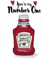 wenskaart mouse & pen - you re my number one - ketchup