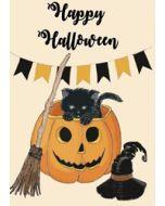 wenskaart mouse & pen - happy halloween - pompoen