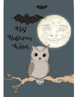 wenskaart mouse & pen - best halloween wishes - uil