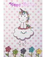 verjaardagskaart - happy birthday - eenhoorn op wolk