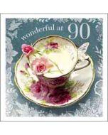 90 jaar - verjaardagskaart woodmansterne esprit - wonderful at 90 - kop en schotel