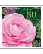 80 jaar - verjaardagskaart woodmansterne esprit - glorious 80th birthday - roos