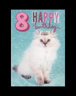 8 jaar - verjaardagskaart woodmansterne - happy birthday - kat met kroontje