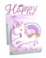 3d verjaardagskaart cutting edge - happy birthday - eenhoorn