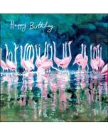 verjaardagskaart woodmansterne - happy birthday - flamingo