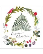 5 kerstkaarten woodmansterne - merry christmas - kerstboom en kerstkrans