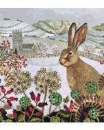 5 kerstkaarten woodmansterne - haas in winterlandschap