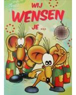 grote verjaardagskaart A4+ - wij wensen je... - muis met champagne
