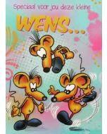 grote felicitatiekaart A4+ - speciaal voor jou deze kleine wens... - muizen