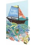 laser gesneden verjaardagskaart roger la borde - happy birthday - zeilboot