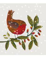 8 luxe kerstkaarten woodmansterne met glitter - roodborstje