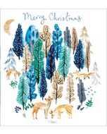 8 luxe kerstkaarten woodmansterne met glitter - bos met dieren