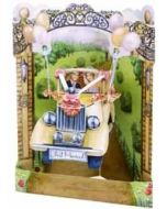 3D trouwkaart - swing cards - just married - bruidspaar in auto
