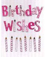 grote verjaardagskaart A4 - birthday wishes - roze kaarsjes