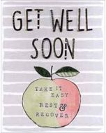 grote beterschapskaart A4 - get well soon take it easy rest recover - appel