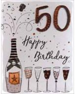 50 jaar - grote verjaardagskaart A4 - happy birthday - champagne