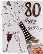 80 jaar - grote verjaardagskaart A4 - happy birthday - champagne