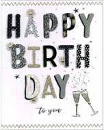 grote verjaardagskaart A4 - happy birthday  to you - champagne
