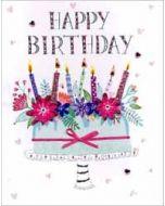 grote verjaardagskaart A4 - happy birthday  - taart met bloemen