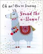 grote wenskaart A4 - oh no! you re leaving sound the a-llama!