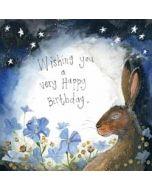 wenskaart alex clark - wishing you a very happy birthday - konijn