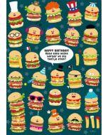 ansichtkaart - lali - zoekplaatje - happy birthday! raad eens welke burger we als toetje eten?