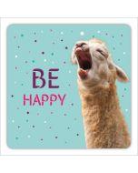 vierkante ansichtkaart met envelop - be happy - lama