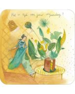 vierkante ansichtkaart met envelop  - anne-sophie rutsaert - het is tijd voor jouw verjaardag!