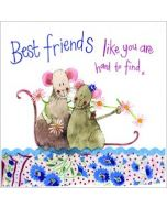 wenskaart alex clark - best friends like you are hard to find x - muizen