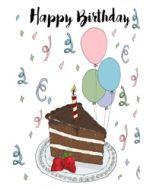 verjaardagskaart mouse & pen - happy birthday - taart