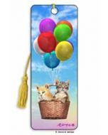 3D lenticulaire boekenlegger - katten in luchtballon