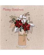 4  luxe kerstkaarten second nature - merry christmas - vaas met kerststerren