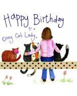 verjaardagskaart alex clark - happy birthday crazy cat lady x