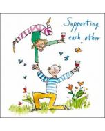 wenskaart woodmansterne corona - supporting each other - quentin blake