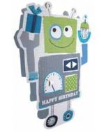 3d verjaardagskaart paper dazzle - happy birthday - robot