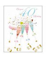 40 jaar - grote verjaardagskaart woodmansterne - on your 40th birthday - champagne