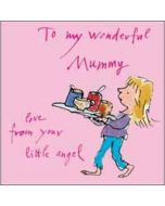 moederdagkaart quentin blake - to my wonderful mummy - love from your little angel