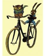 wenskaart wolf erlbruch - uil en konijn op de fiets