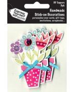 3 plak decoraties - bloemen in bloempot