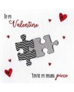 luxe valentijnskaart - to my valentine you are my missing piece - puzzelstukjes