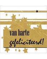 felicitatiekaart - van harte gefeliciteerd - goud zwart sterren