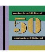 50 jaar - felicitatiekaart - van harte gefeliciteerd - groen blauw
