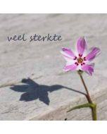 wenskaart - veel sterkte - roze bloem