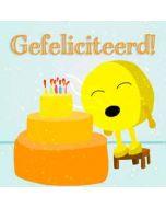 verjaardagskaart hophew - gefeliciteerd! - hophew bij taart