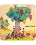vierkante ansichtkaart met envelop izou - gefeliciteerd - kinderen met cadeaus
