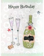 grote verjaardagskaart A4 - happy birthday  bubbly - champagne