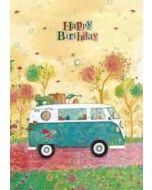 grote verjaardagskaart A4 - jehanne weyman- happy birthday - busje