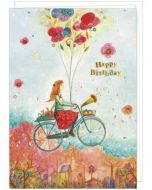 grote verjaardagskaart A4 - jehanne weyman - happy birthday - meisje op fiets