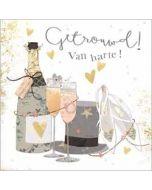trouwkaart gold leaf - getrouwd van harte - champagne hoed en schoenen
