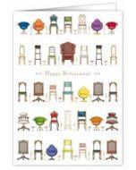 wenskaart A4 - happy retirement - stoelen